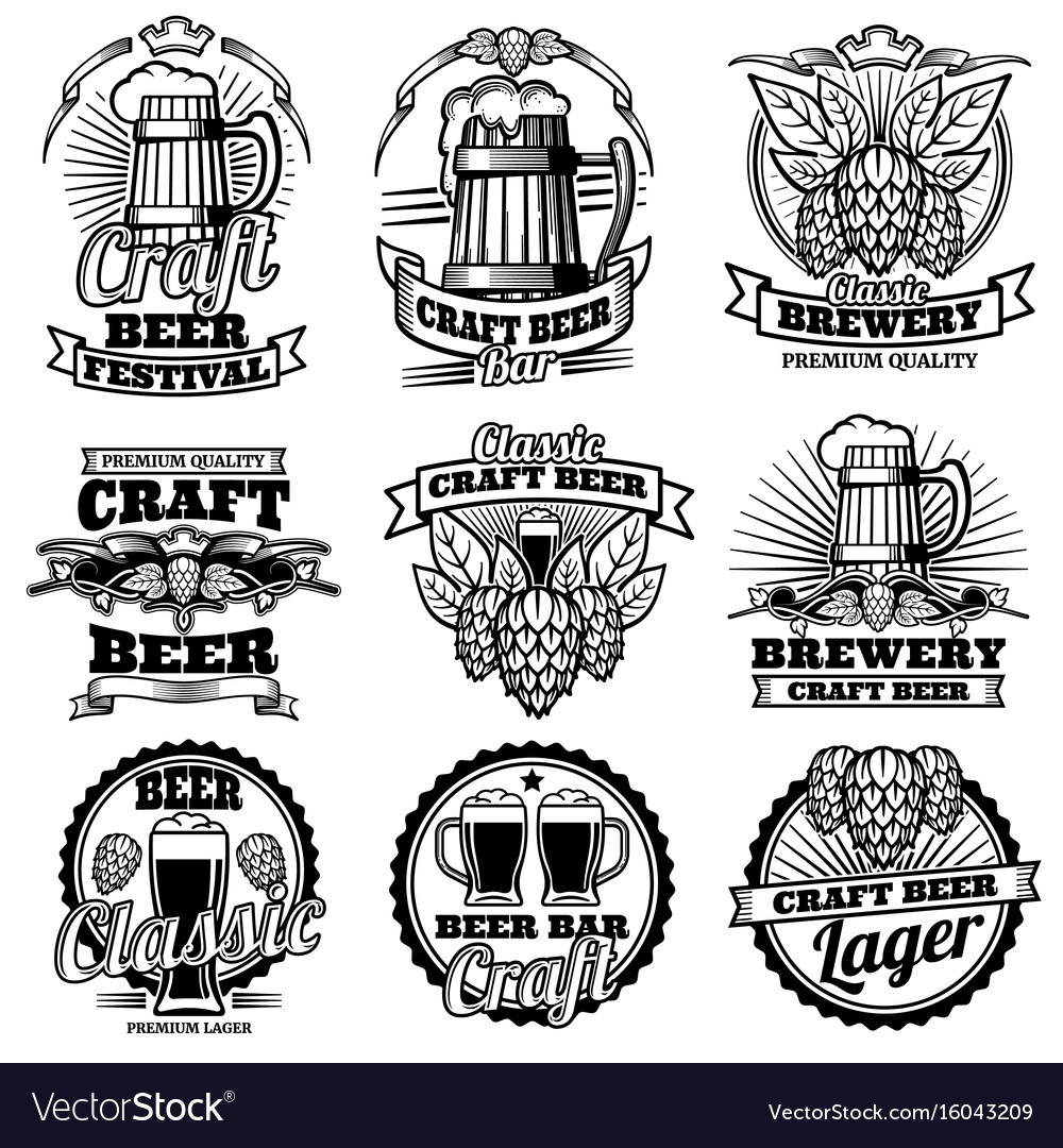 Vintage beer drink bar labels retro