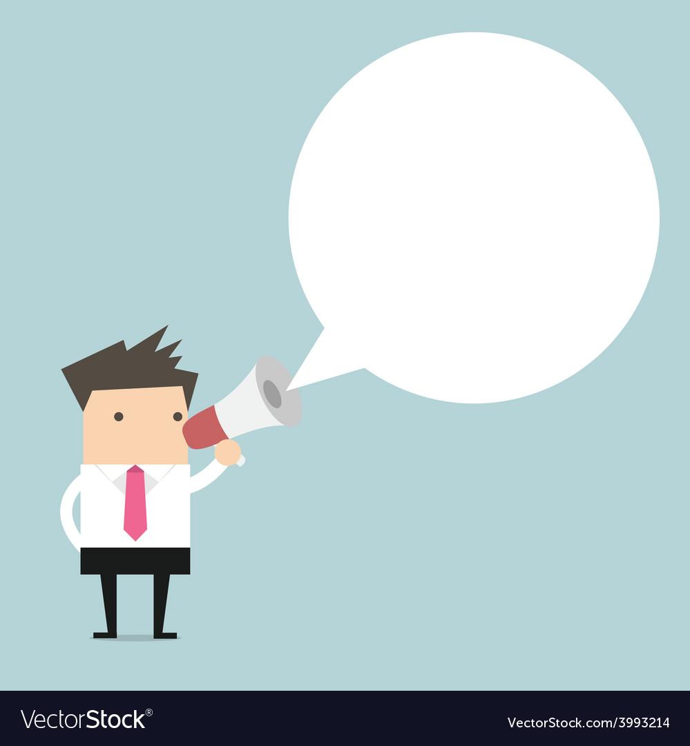 Businessman holding megaphone with speech bubble f