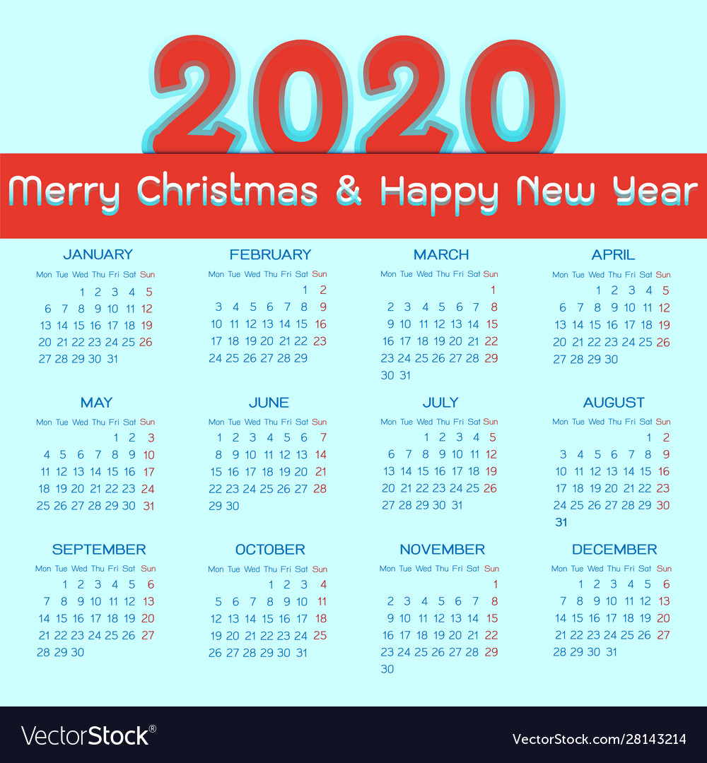 Calendar Christmas 2020 Christmas and new year 2020 calendar template Vector Image