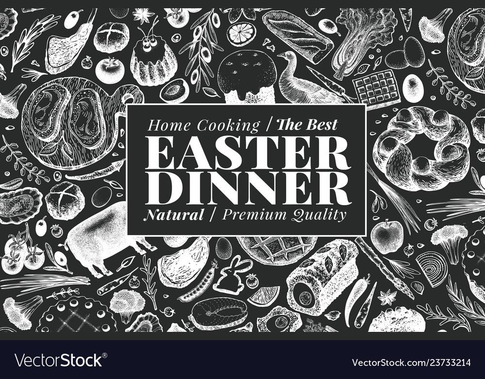 Easter dinner banner template hand drawn