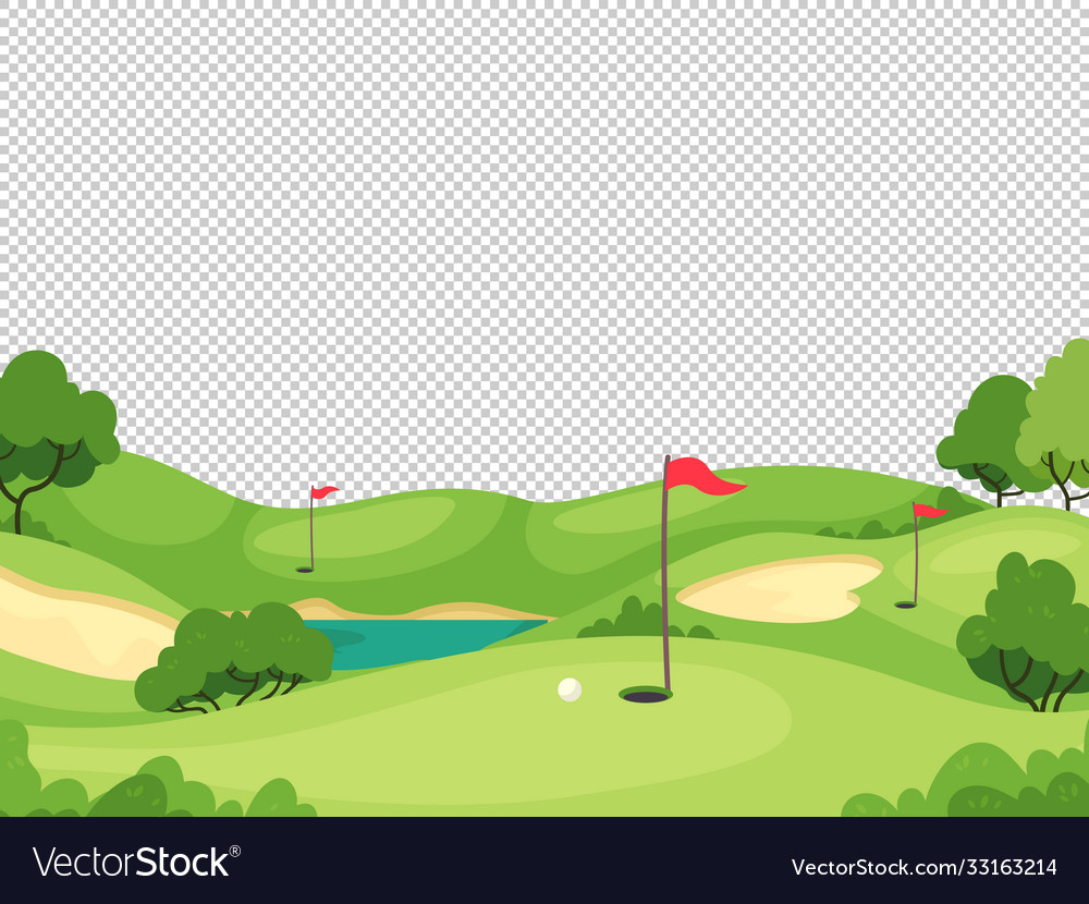 Golf background green golf course with hole and