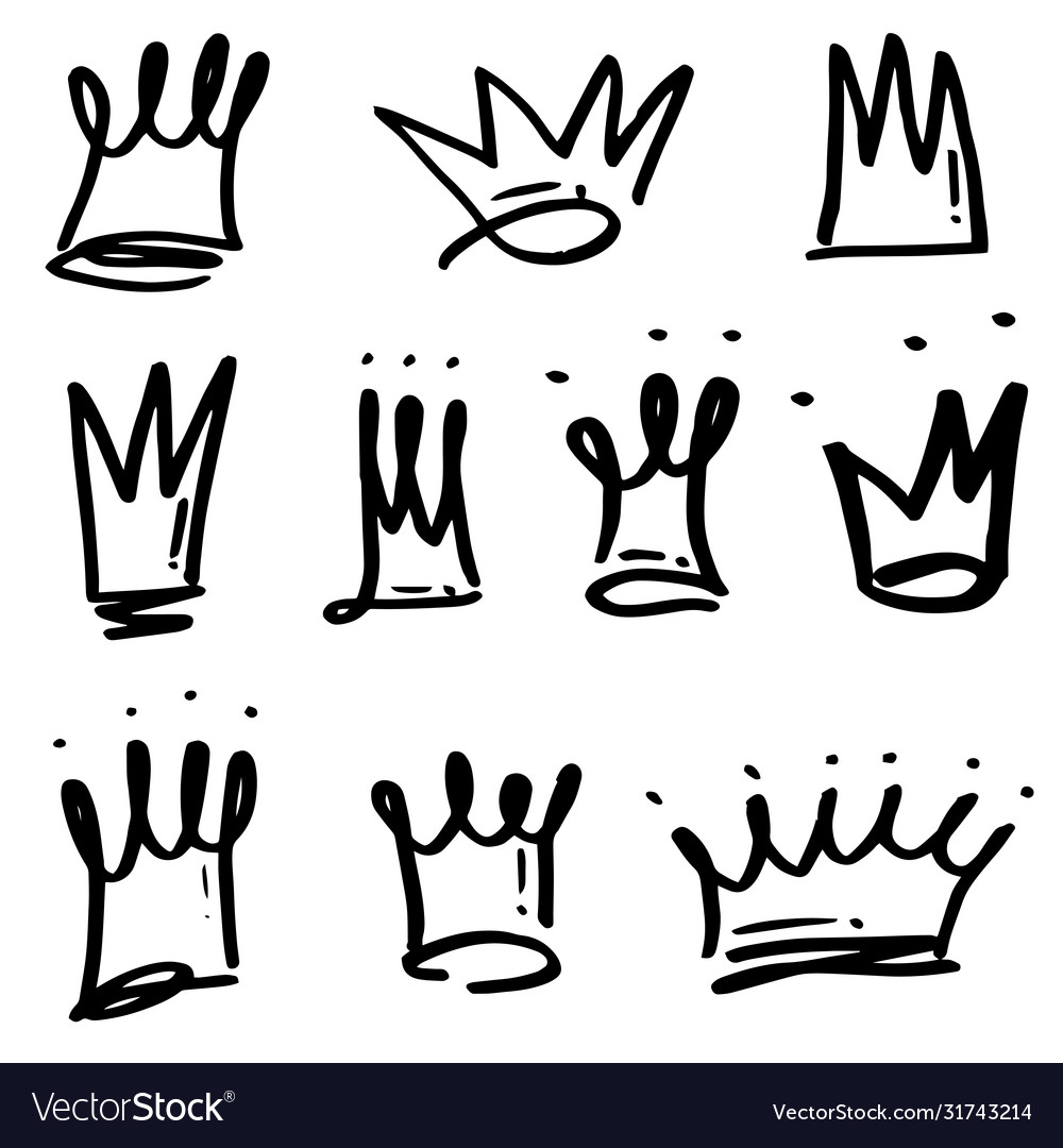 Hand drawn crowns logo set isolated on white