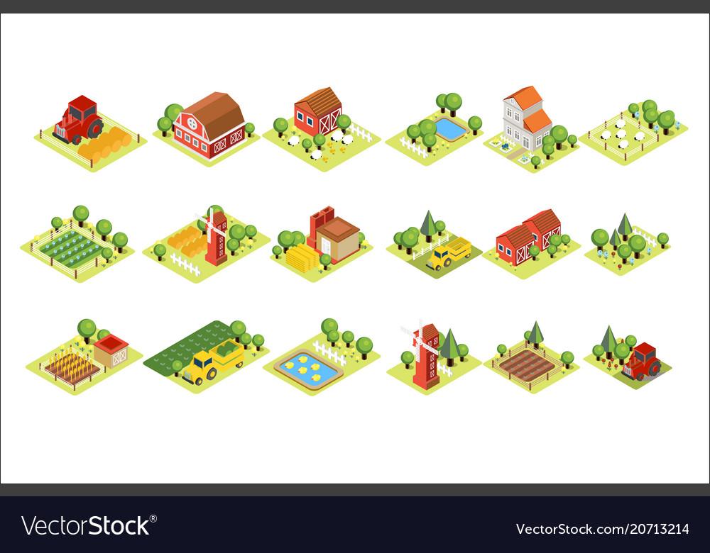 Isometric farm set house fields with harvest