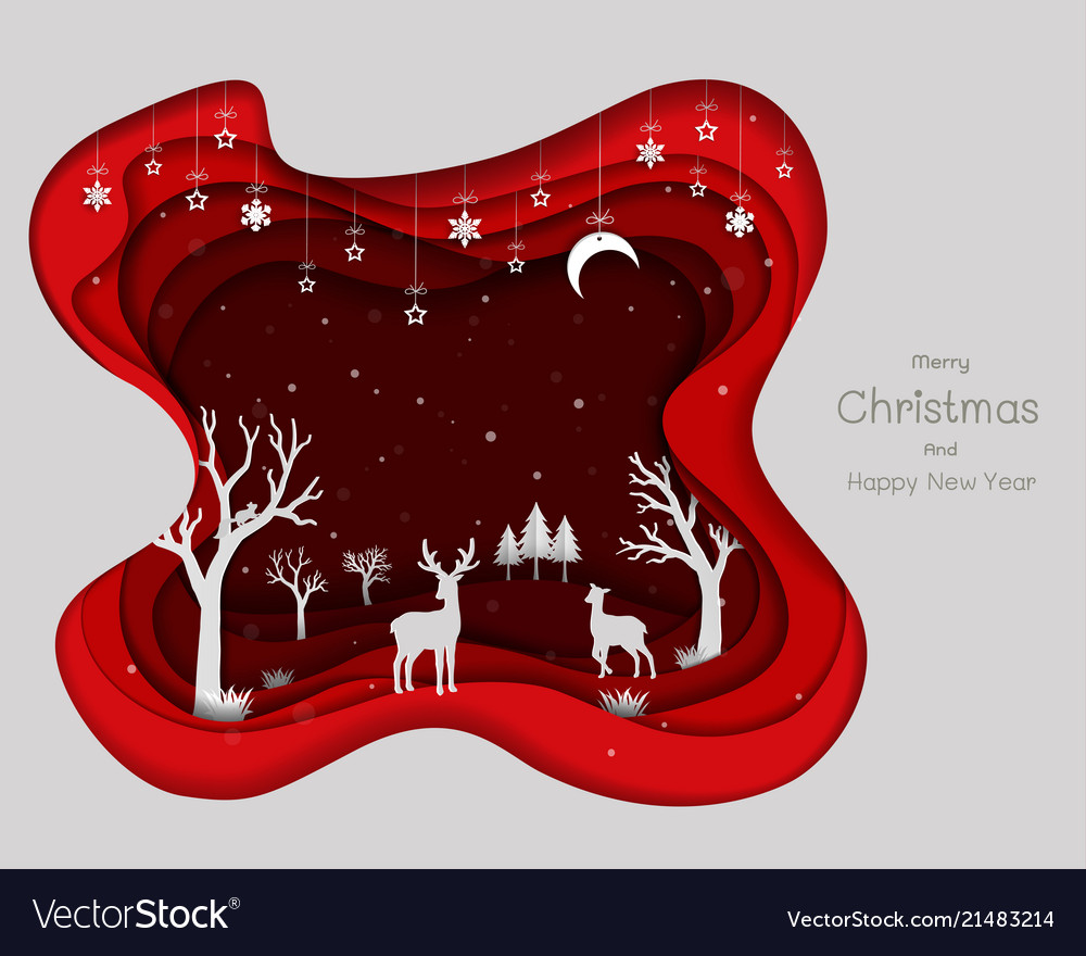 Paper art design with deers family and snowflakes