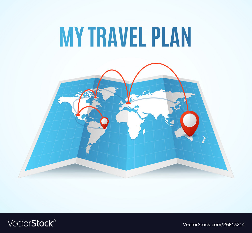 Realistic detailed 3d travel plan map concept
