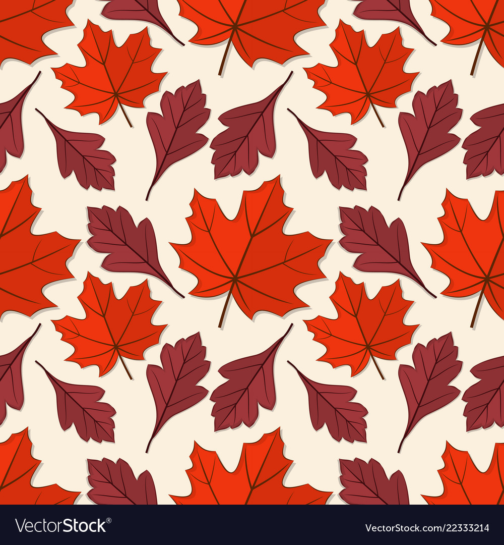 Seamless pattern with maple and hawthorn leaves