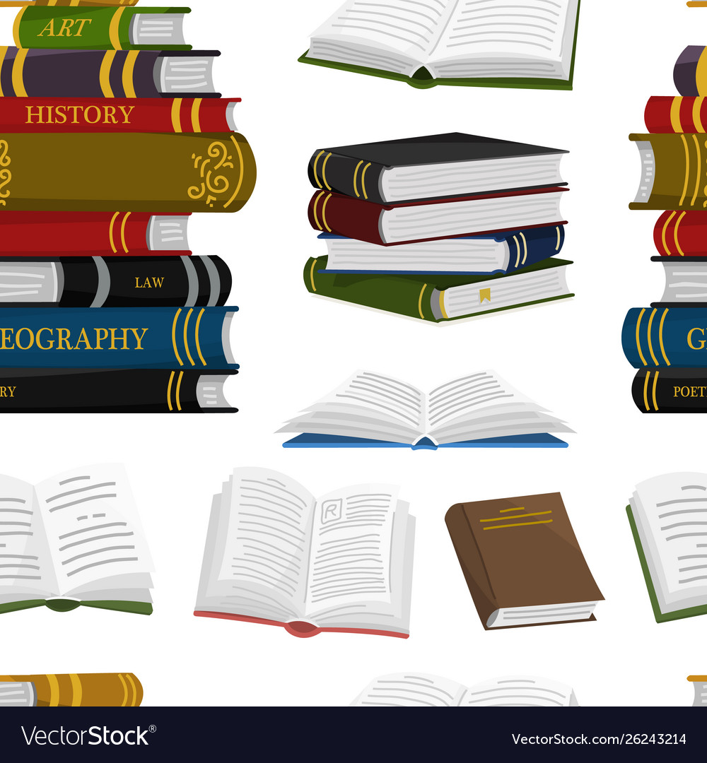Stack books seamless pattern background for