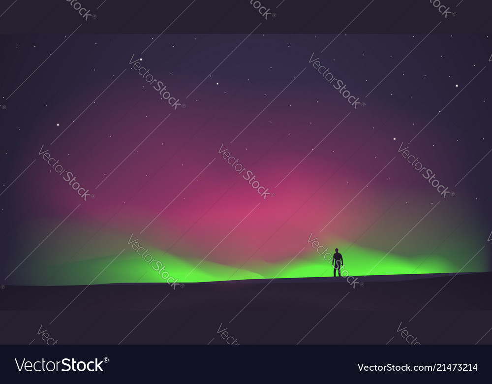 The northern lights with a man in the foreground