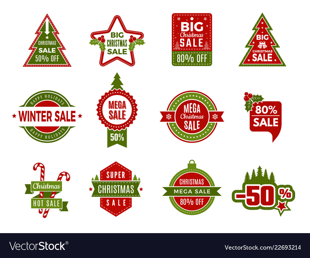 Winter holiday sales christmas badges or labels
