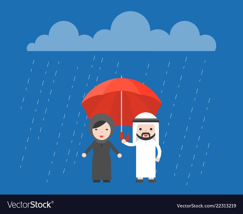 Arab businessman sharing an umbrella with arab