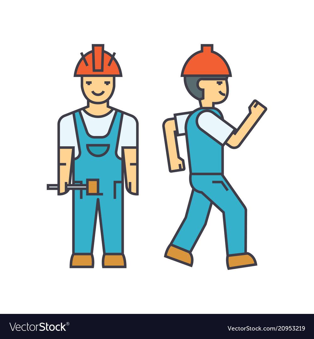 Builder man line icon concept builder man flat