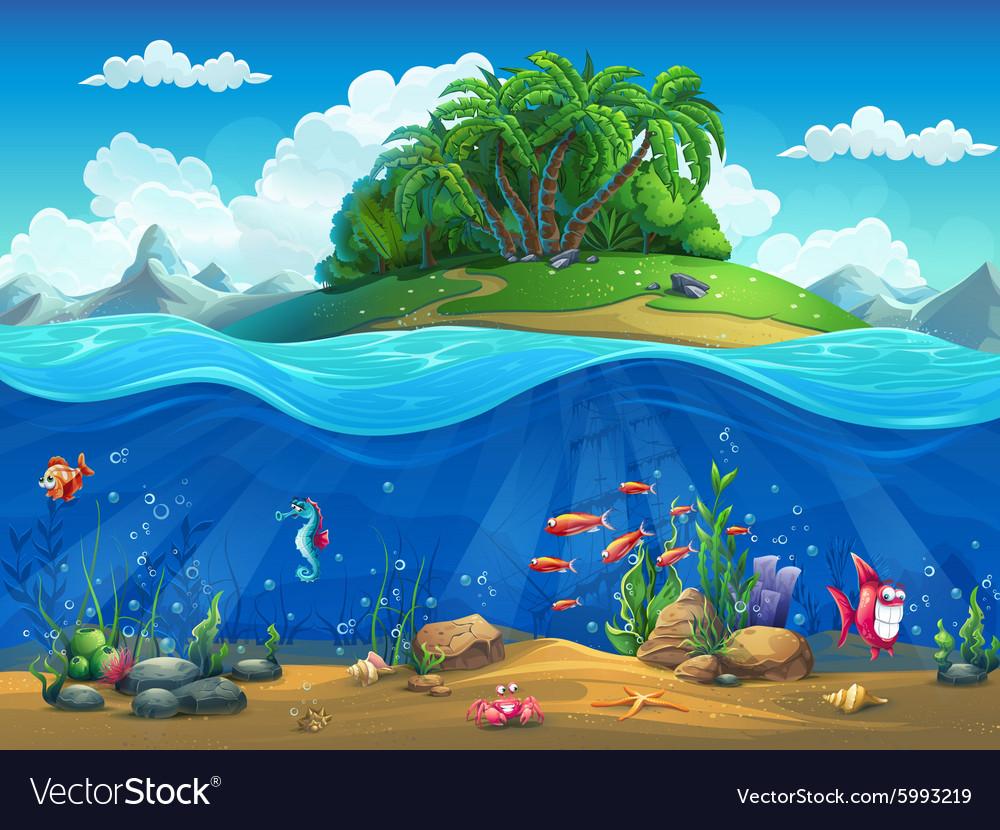 Cartoon underwater world with fish plants island