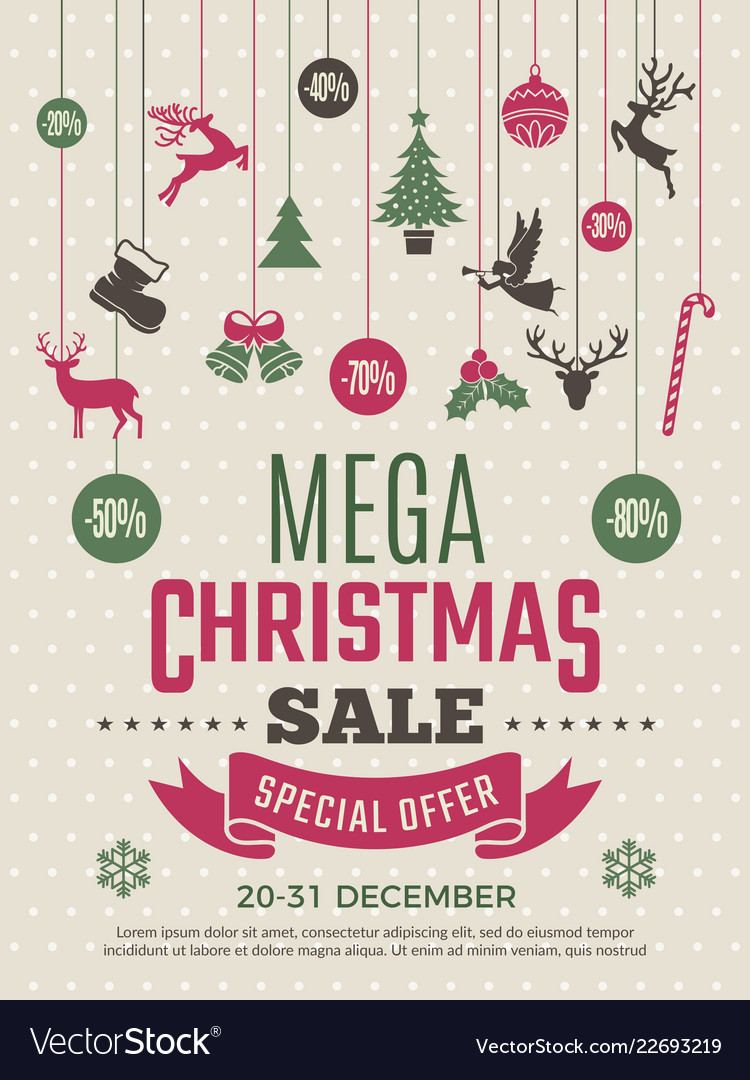 Christmas poster for big sales new year voucher