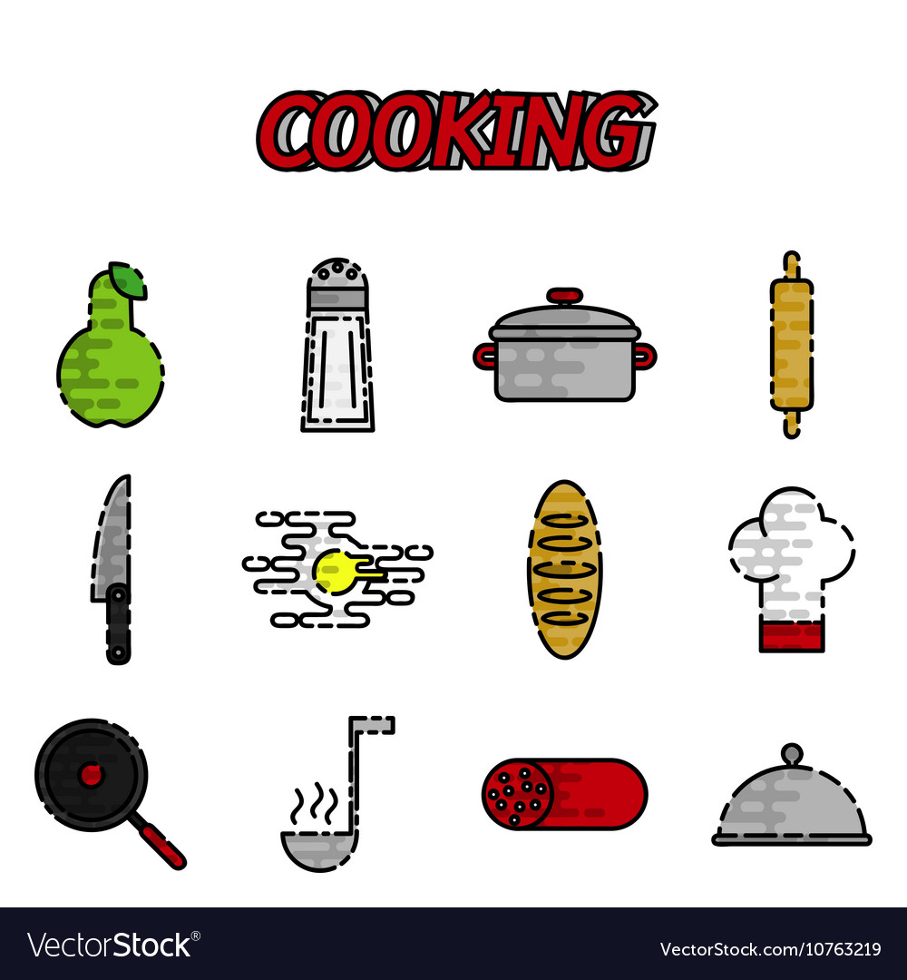 Cooking flat icon set vector image