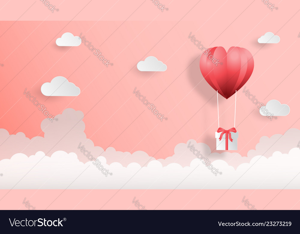 Creative valentines day background paper cut style