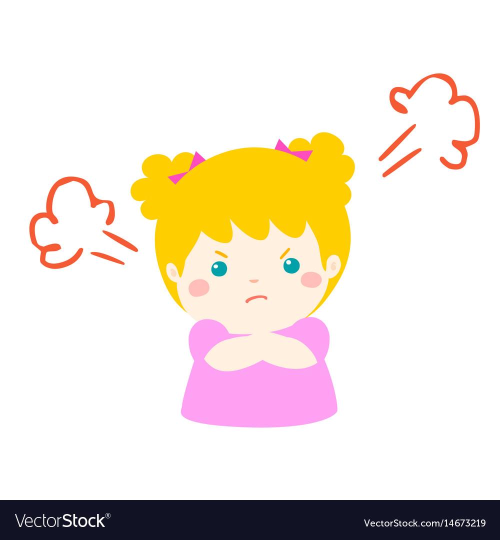 Cute cartoon angry girl character vector image