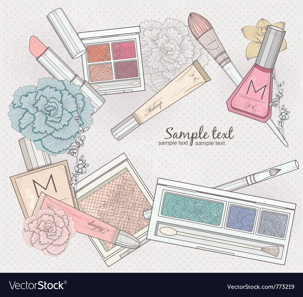 Makeup and cosmetics background vector image