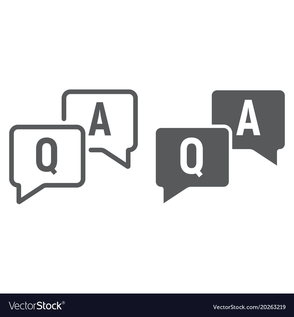 Question and answer line and glyph icon