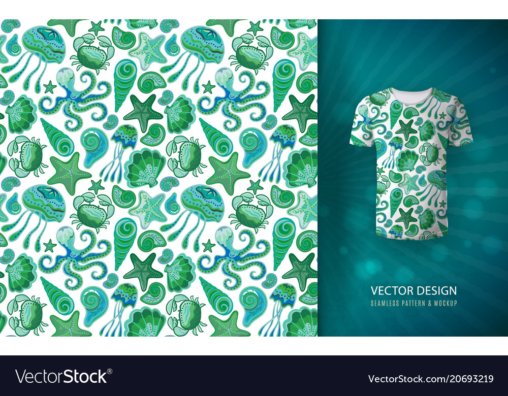 Seamless hand draw pattern with colorful sea vector image