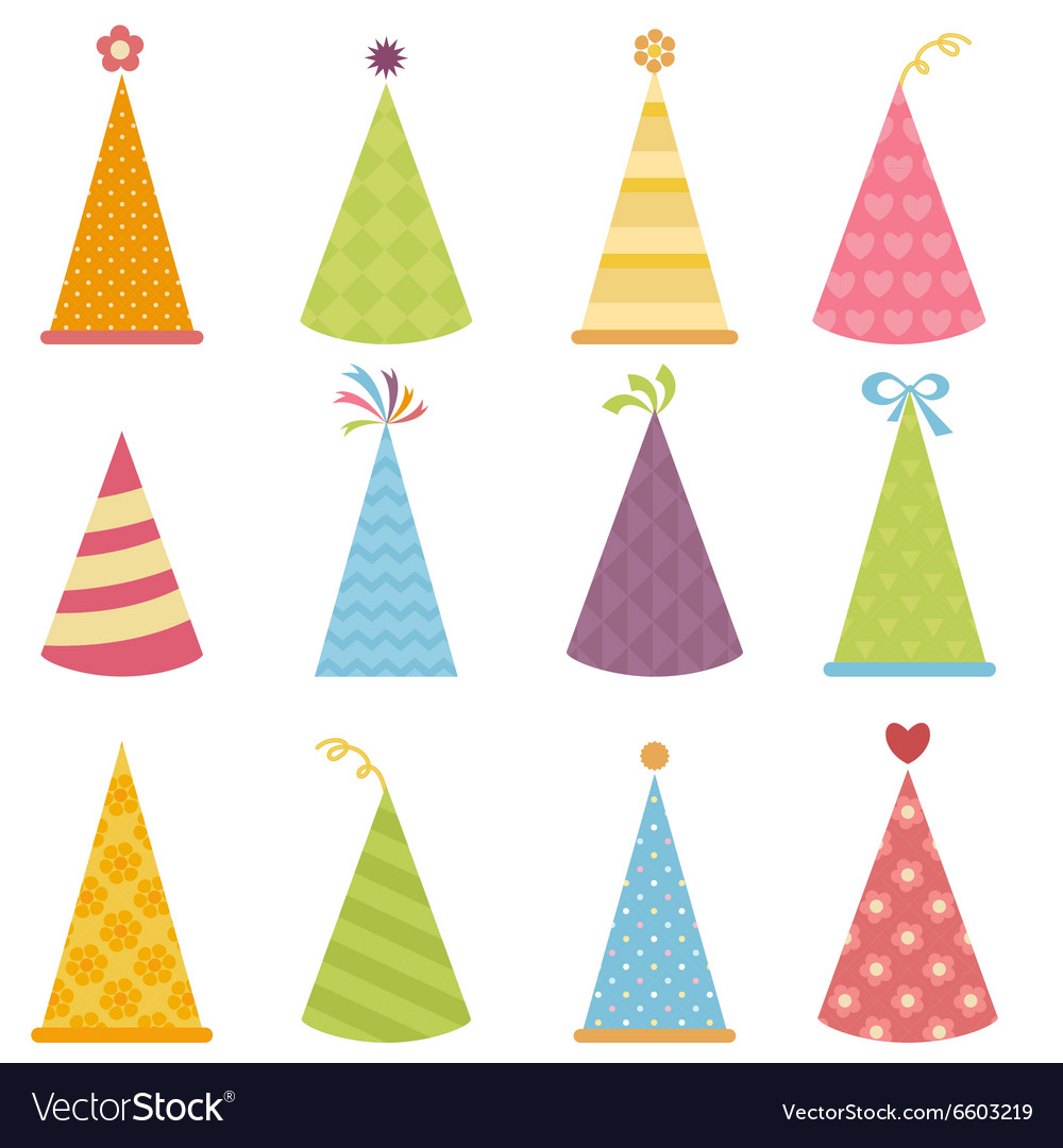 Set of colorful party hats