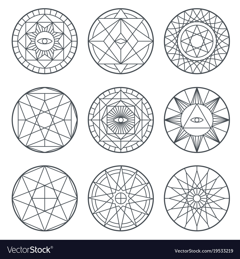 Spiritual Alchemy Symbols Medieval Royalty Free Vector Image