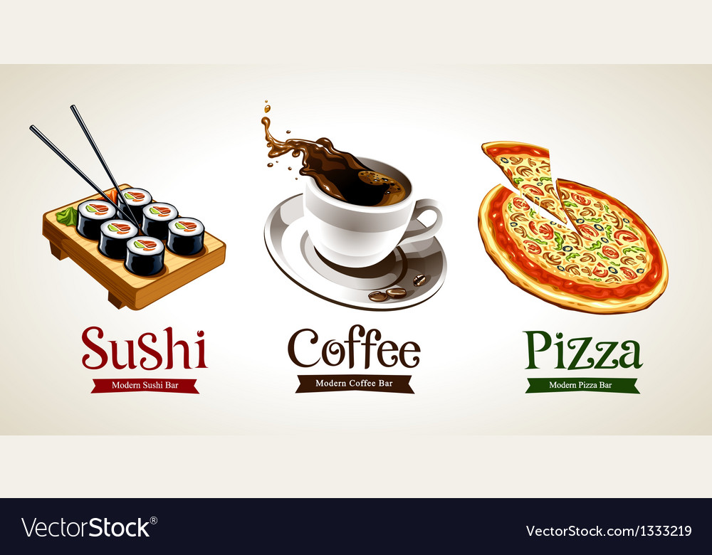 Sushi Coffee Pizza vector image