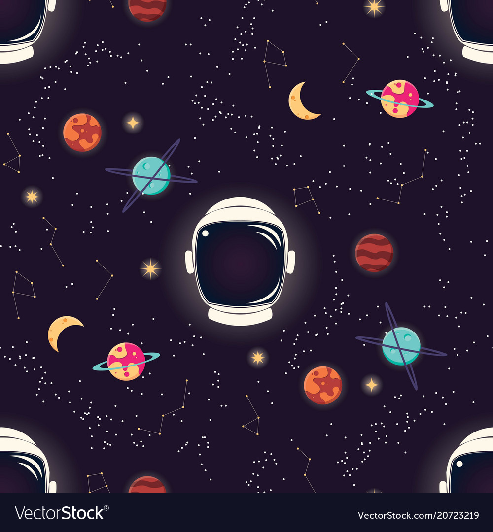 Universe with planets stars and astronaut helmet