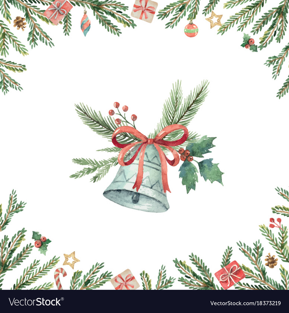 Watercolor Christmas Cards.Watercolor Christmas Card With Bell And Fir