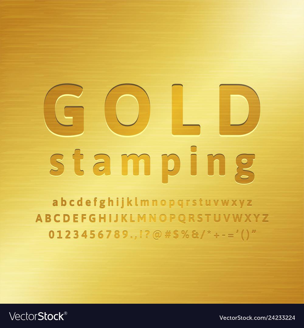 3d alphabet gold stamping font effect