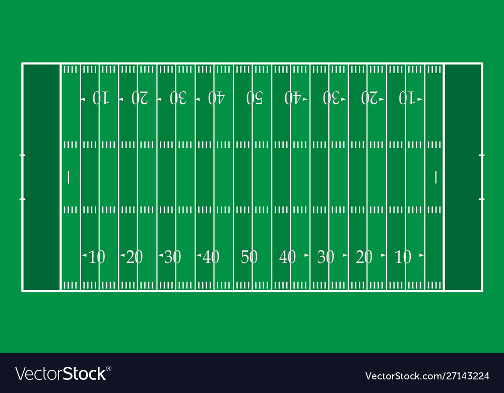 American football field with green stripes
