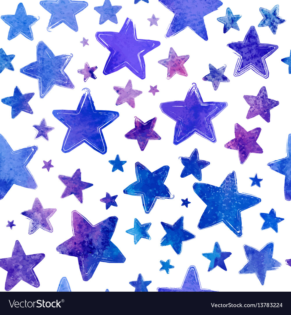 Blue watercolor painted stars seamless