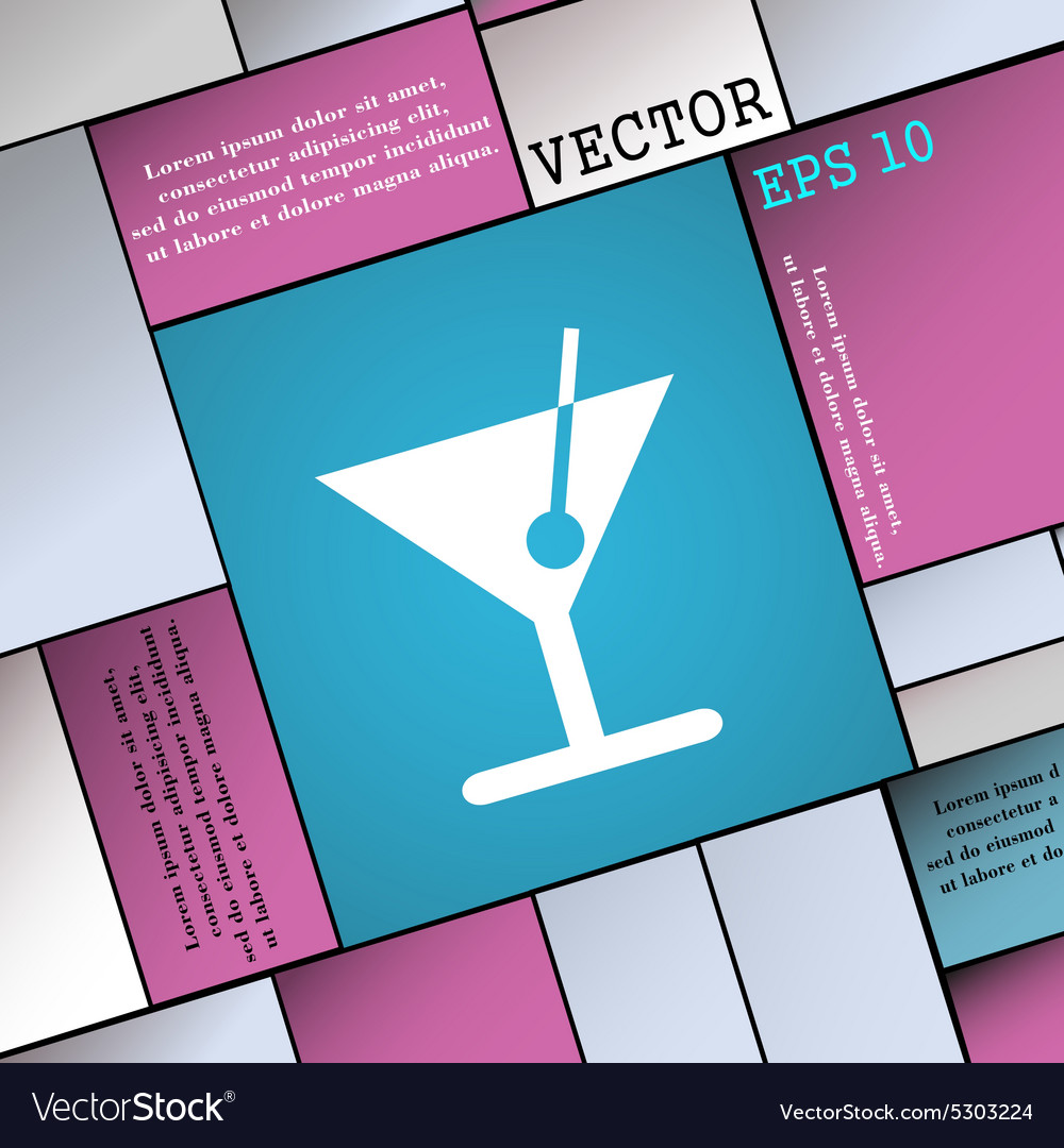 Cocktail icon sign Modern flat style for your