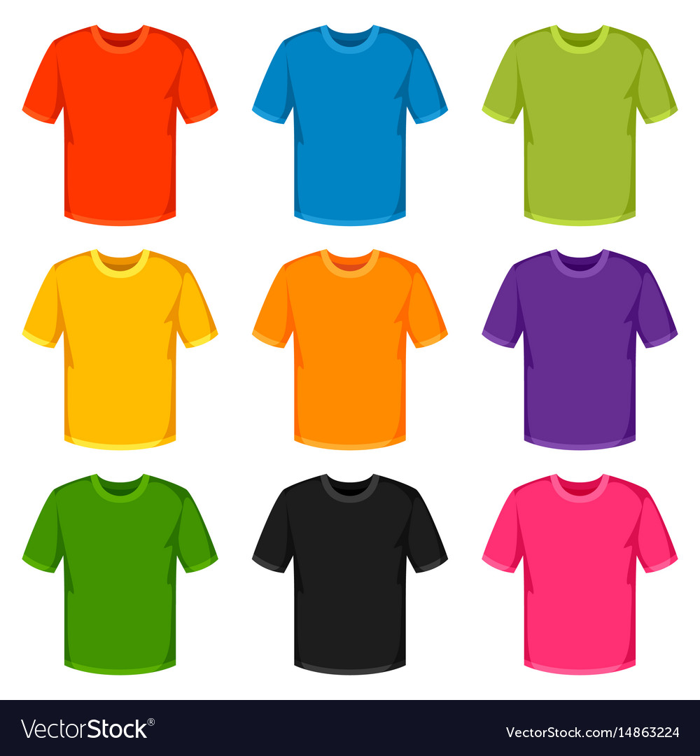 colored t shirts templates set of promotional and vector image