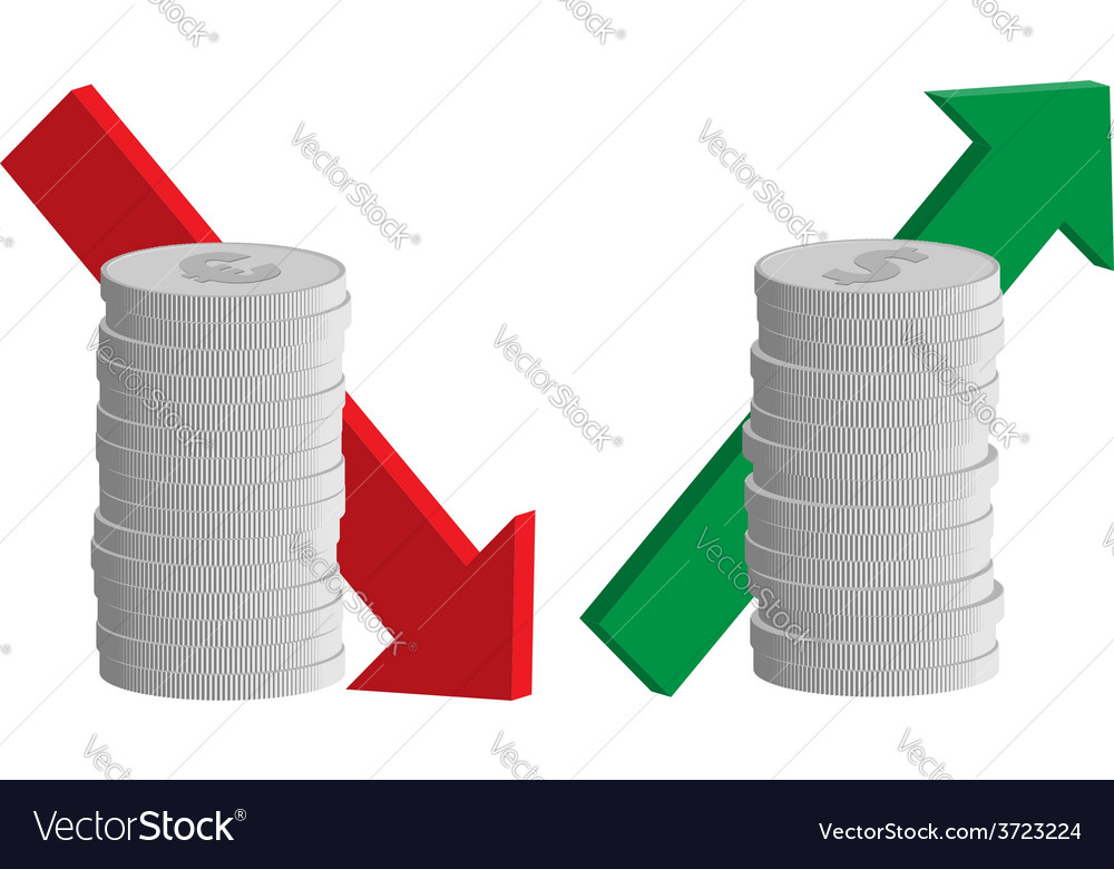 Currency exchange rate euro down dollar up vector image