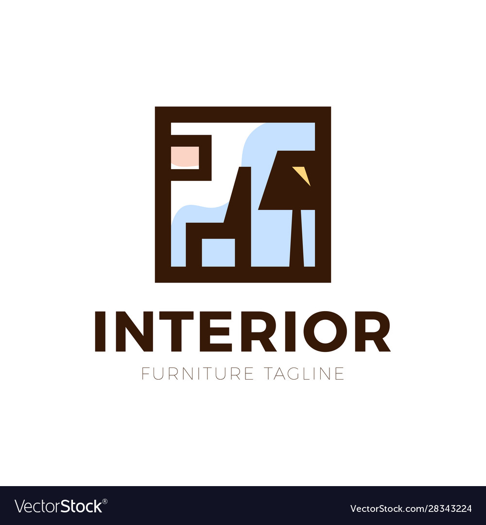 Furniture interior logo with chair and old lamp