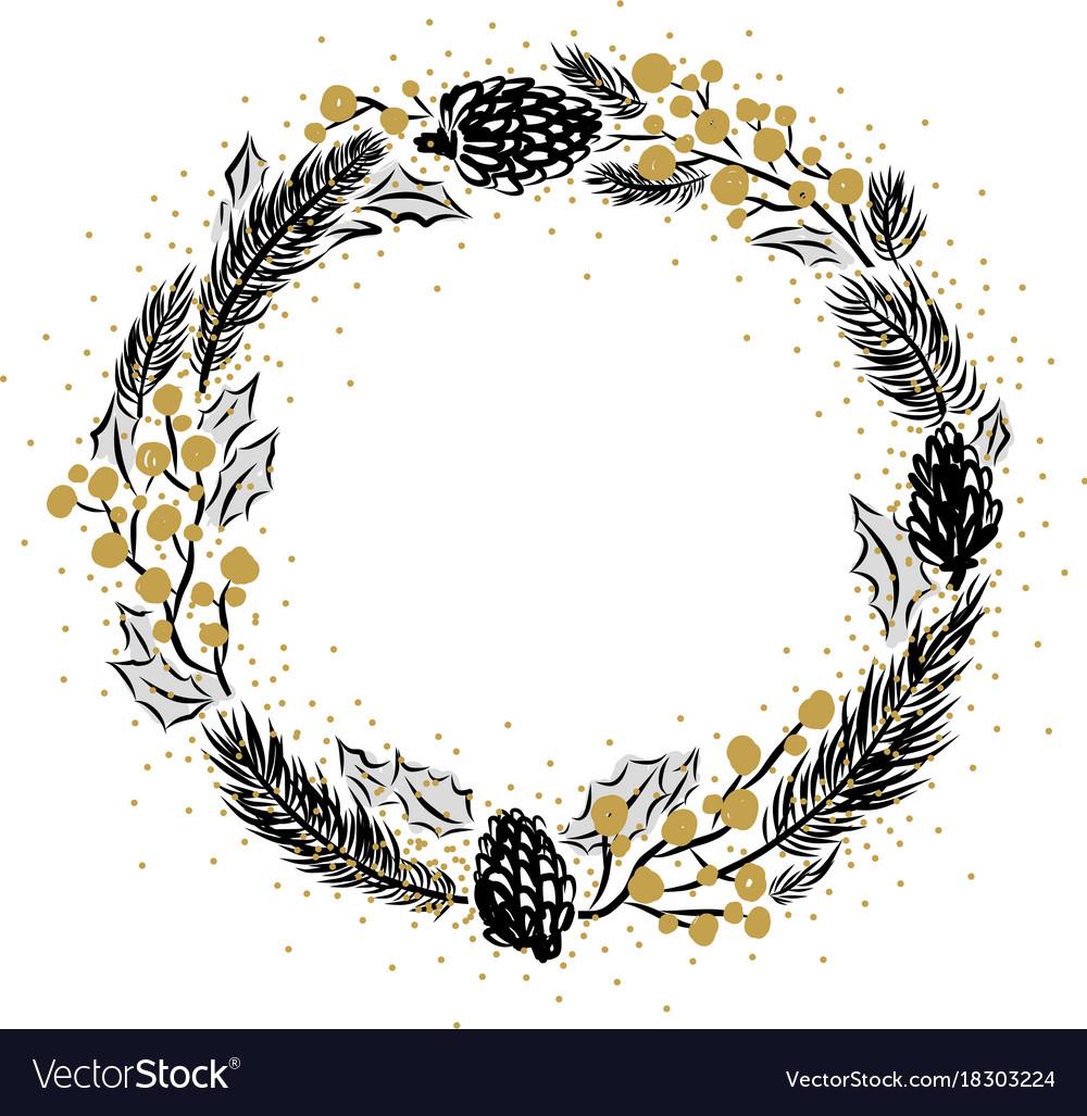 Hand drawn christmas frame design vector image