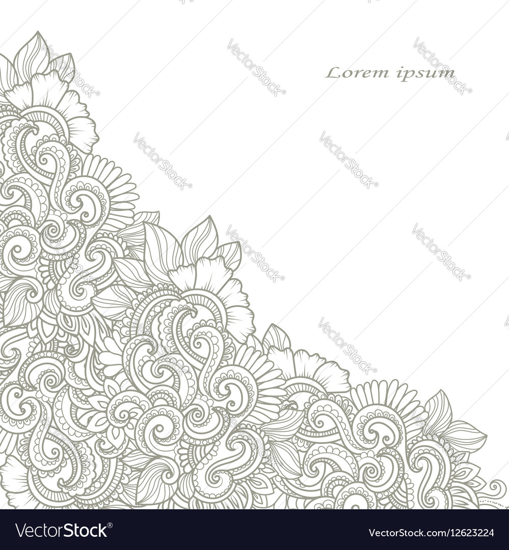 Hand-drawn decorative floral angle vector image