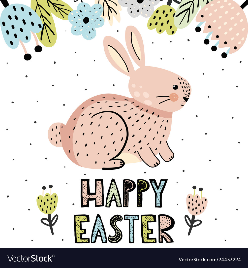 Happy easter greeting card with a cute bunny