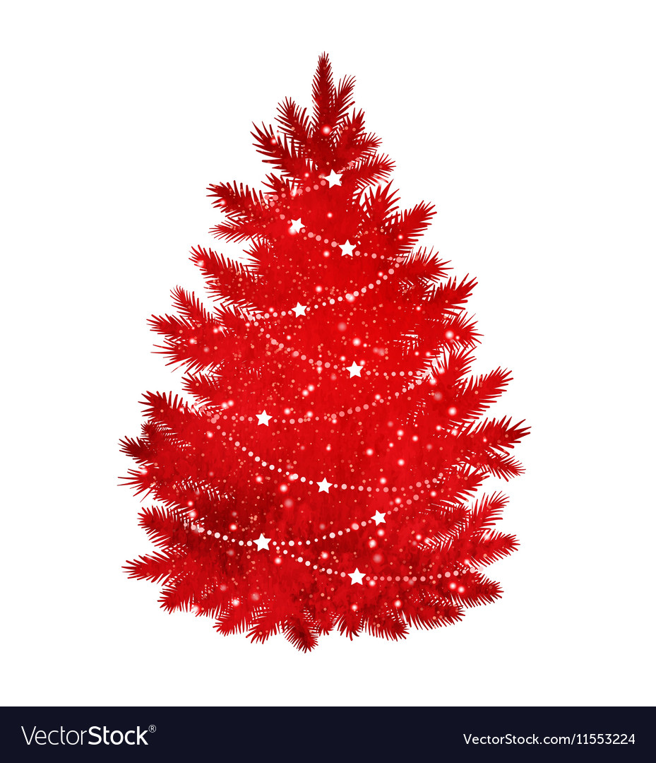 Red Silhouette Of Christmas Tree Royalty Free Vector Image