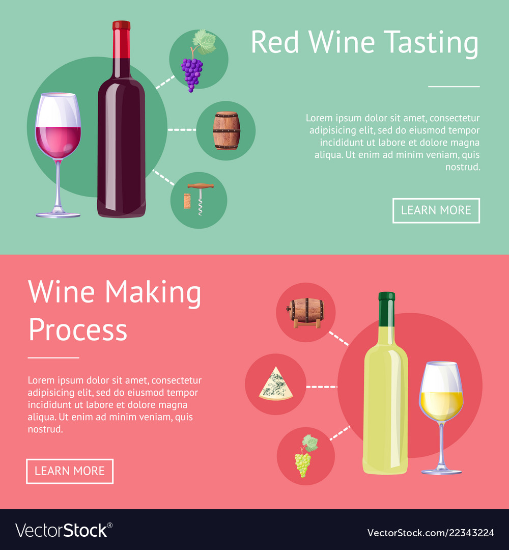 Red wine tasting and making process promo banners