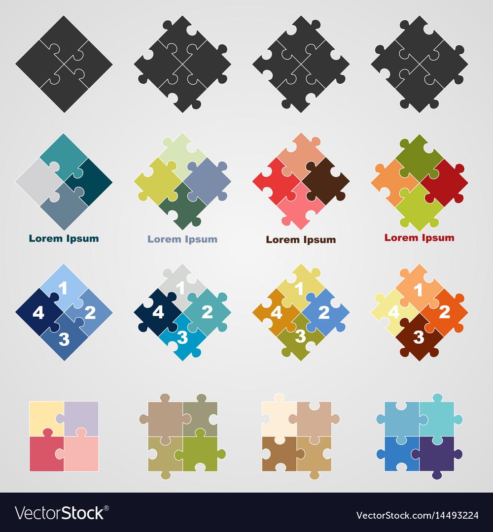 Set of puzzle symbols