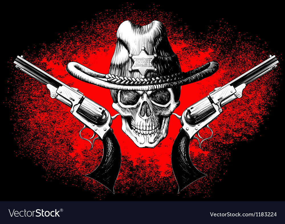 Skull with revolver vector image