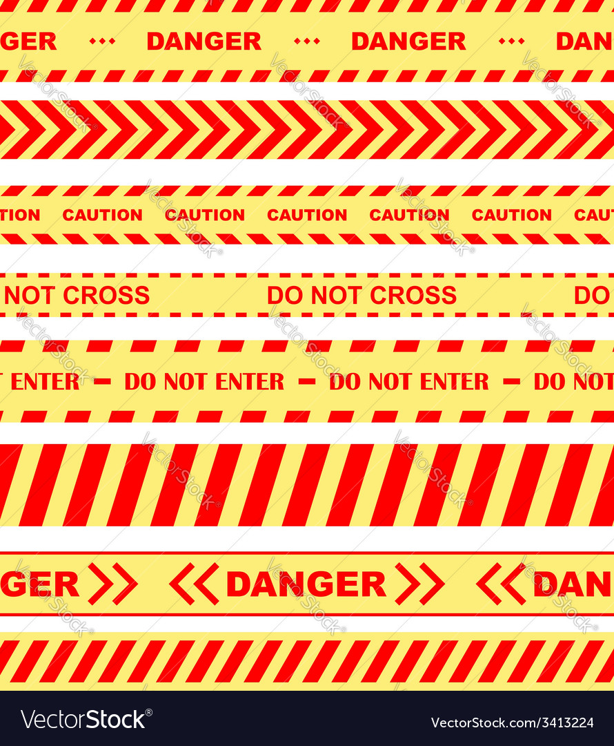 Warning danger and caution tapes or ribbons
