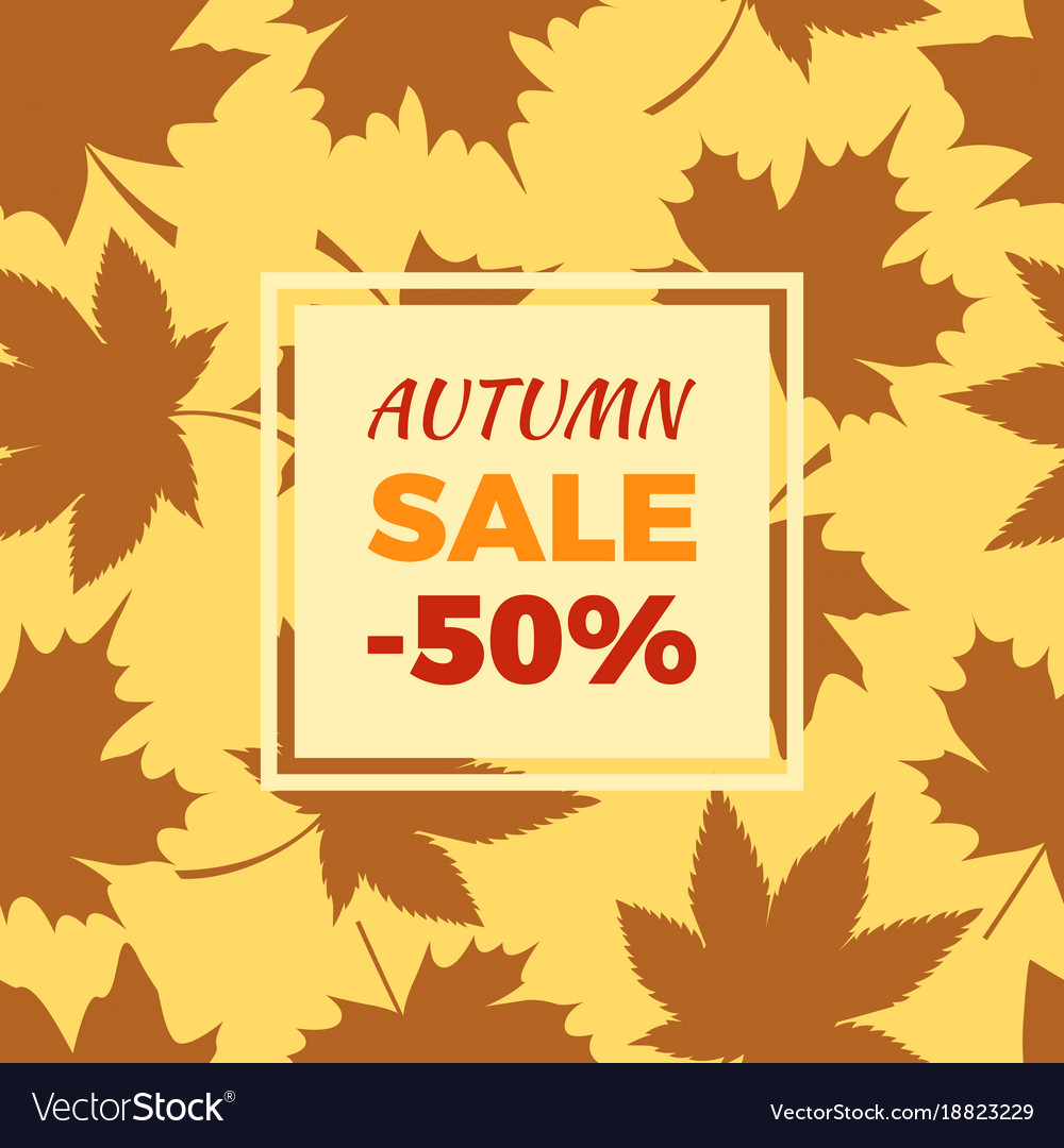 Autumn sale -50 off in frame leaves foliage icons