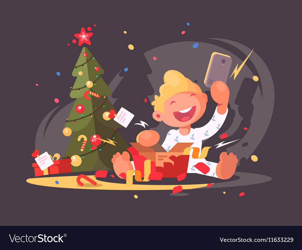 Child opens Christmas present