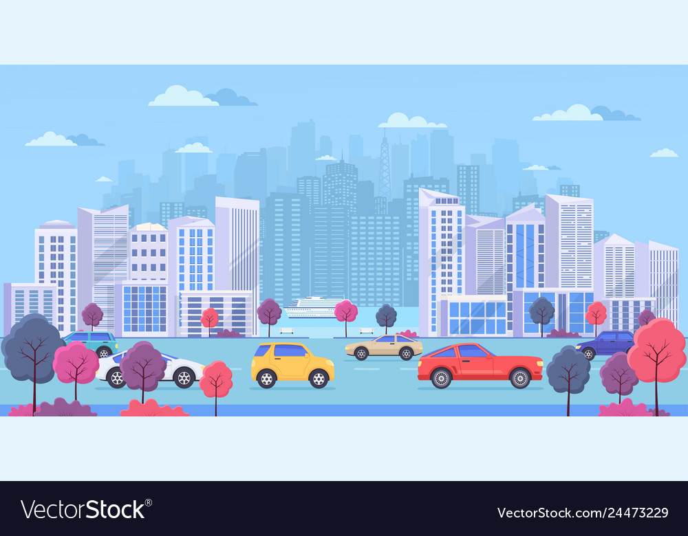 Cityscape with large modern buildings urban