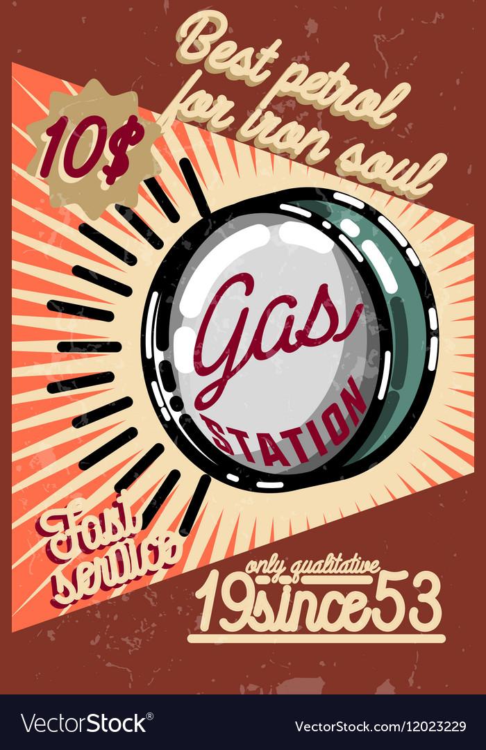 Color vintage gas station poster