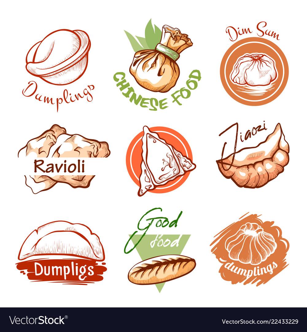Dumplings oriental restaurant logo and graphic