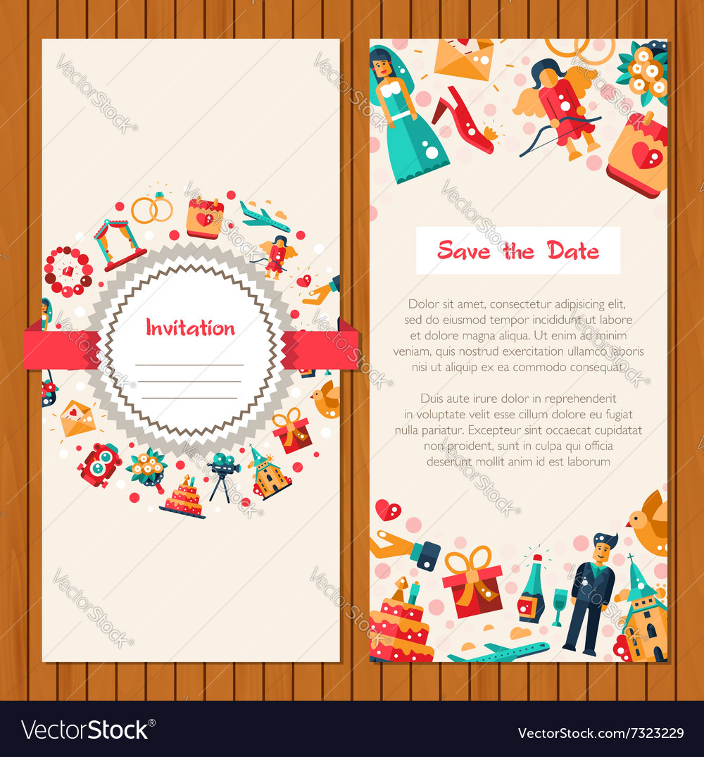 Flat Design Wedding And Marriage Invitation Card