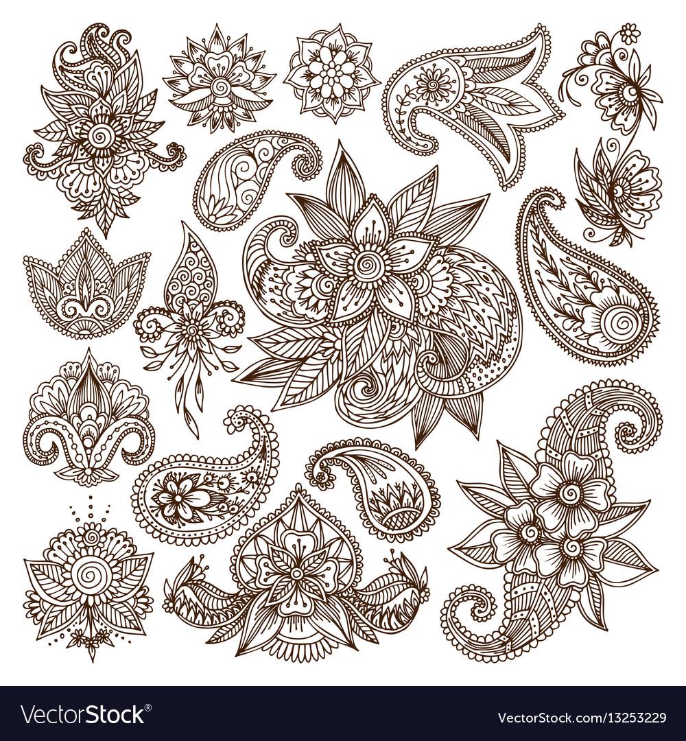3fcfdb48a04d9 Henna mehndi flower template Royalty Free Vector Image